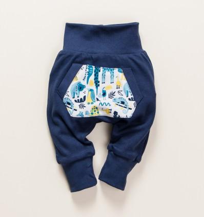 Granatowe spodnie niemowlęce THE KING z bawełny organicznej dla chłopca