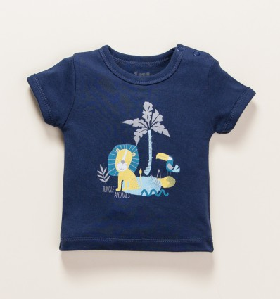 Granatowy t-shirt THE KING z bawełny organicznej dla chłopca
