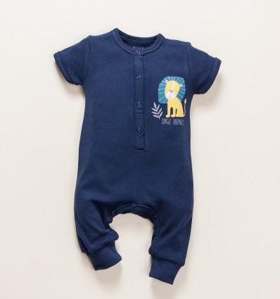 Granatowy kombinezon niemowlęcy THE KING z bawełny organicznej dla chłopca
