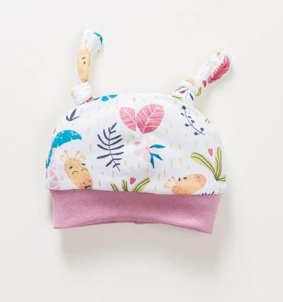 Czapka niemowlęca OAZA z bawełny organicznej dla dziewczynki