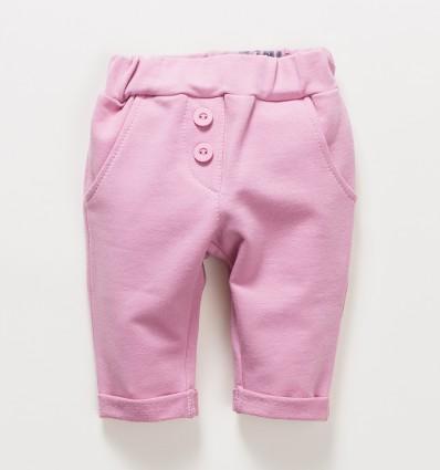 Różowe spodnie niemowlęce OAZA z bawełny organicznej dla dziewczynki
