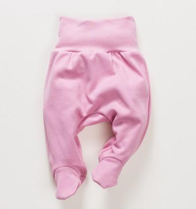 Różowe półśpiochy niemowlęce OAZA z bawełny organicznej dla dziewczynki