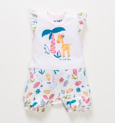 Rampers niemowlęcy OAZA z bawełny organicznej dla dziewczynki