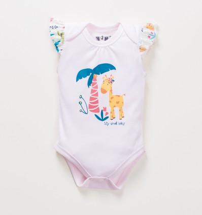 Różowe body niemowlęce OAZA z bawełny organicznej dla dziewczynki