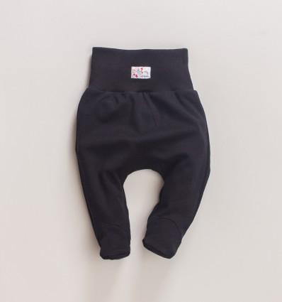 Czarne półśpiochy niemowlęce MAGNOLIA z bawełny organicznej dla dziewczynki