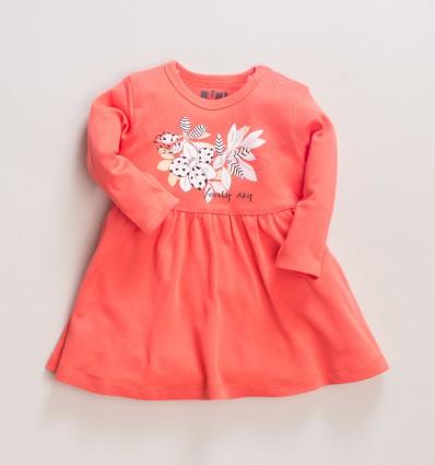 Morelowa sukienka niemowlęca MAGNOLIA z bawełny organicznej