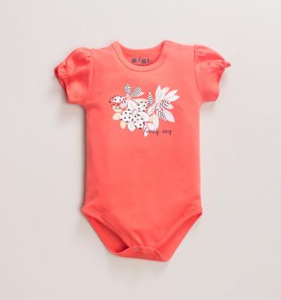 Morelowe body niemowlęce MAGNOLIA z bawełny organicznej dla dziewczynki