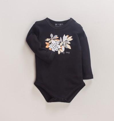 Czarne body niemowlęce MAGNOLIA z bawełny organicznej