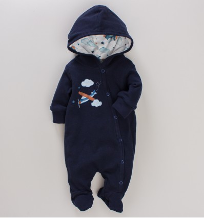 Kombinezon niemowlęcy SAMOLOTY z bawełny organicznej dla chłopca