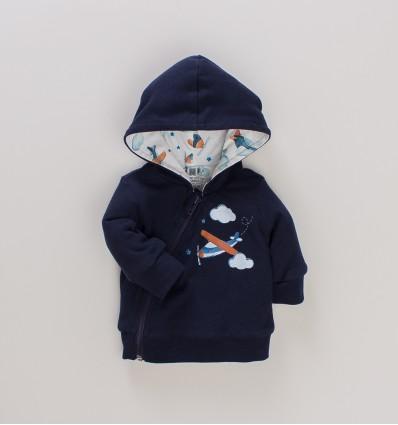 Dwuwarstwowa bluza niemowlęca SAMOLOTY z bawełny organicznej dla chłopca