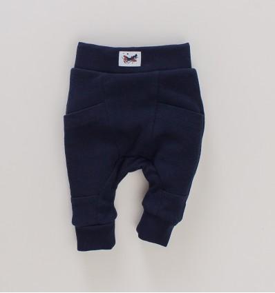 Granatowe spodnie SAMOLOTY z bawełny organicznej dla chłopca