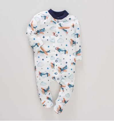 Pajac niemowlęcy SAMOLOTY z bawełny organicznej dla chłopca