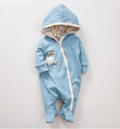 Dwuwarstwowy kombinezon niemowlęcy SÓWKI z bawełny organicznej dla dziewczynki