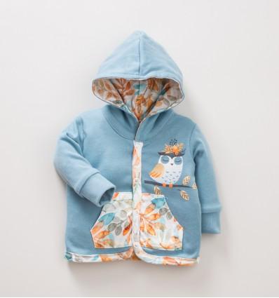 Dwustronna bluza niemowlęca NINI SÓWKI z bawełny organicznej dla dziewczynki