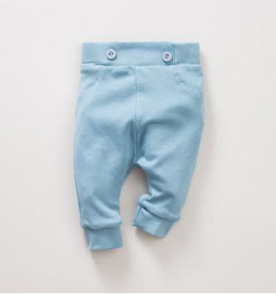 Niebiesko-zielone spodnie niemowlęce NINI SÓWKI z bawełny organicznej dla dziewczynki