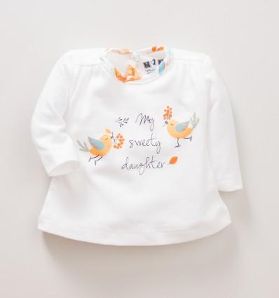 Bluzka niemowlęca NINI ecrue z bawełny organicznej SÓWKI dla dziewczynki