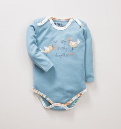 Niebiesko-zielone body niemowlęce NINI SÓWKI z bawełny organicznej dla dziewczynki