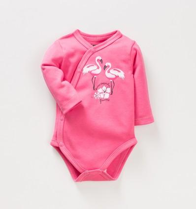 Malinowe body kopertowe FLAMINGI NINI z bawełny organicznej dla dziewczynki
