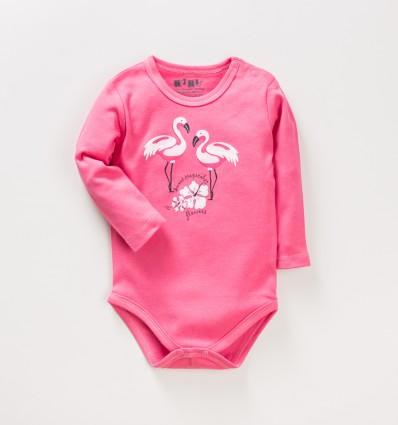 Malinowe body niemowlęce FLAMINGI NINI z bawełny organicznej dla dziewczynki