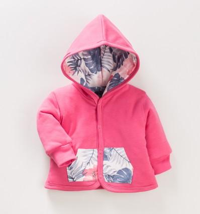 Malinowa kurtka niemowlęca FLAMINGI NINI z bawełny organicznej dla dziewczynki
