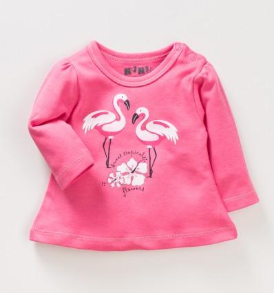 Bluzka niemowlęca FLAMINGI NINI z bawełny organicznej dla dziewczynki