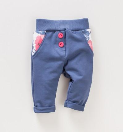 Ciemnoniebieskie spodnie niemowlęce FLAMINGI NINI z bawełny organicznej dla dziewczynki