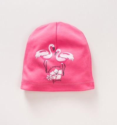Malinowa czapka niemowlęca FLAMINGI  NINI z bawełny organicznej dla dziewczynki